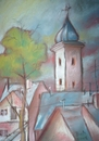 Cartoon: Old City (small) by boa tagged painting,color,oil,boa,romania,painter,landscape