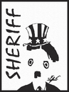 Cartoon: Sheriff (small) by Zoran Spasojevic tagged digital,graphics,emailart,unclesam,usa,great,dictator,chaplin,zoran,spasojevic,paske,kragujevac,uncle,sam,sheriff,serbia