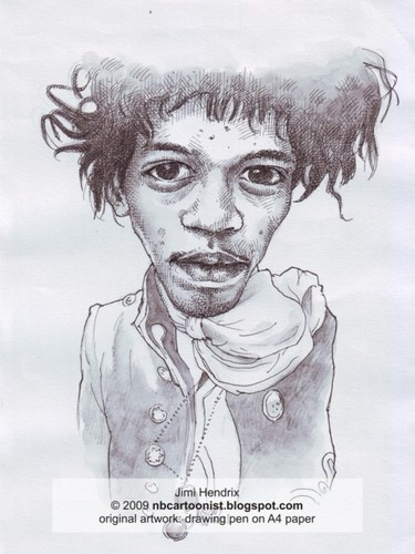 Cartoon: jimi hendrix (medium) by Joen Yunus tagged caricature,pen,black,white,jimi,rock,guitarist