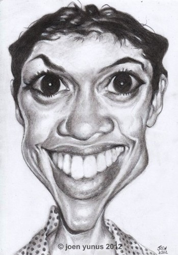 Cartoon: rosario dawson (medium) by Joen Yunus tagged rosario,actress,movie,celebrities,charcoal,caricature