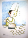 Cartoon: unexpected guest (small) by Joen Yunus tagged cartoon,cooking,gastronomy,colored,pencil,pen