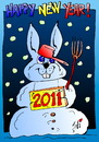 Cartoon: Happy New Year 2011! (small) by SAI tagged snow,rabbit,happy,new,year,2011,caricaturasai,la,multi,ani