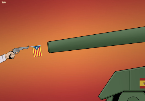 Cartoon: Duel (medium) by Tjeerd Royaards tagged independence,spain,eu,catalonia,violence,civil,war,vote,referendum,independence,spain,eu,catalonia,violence,civil,war,vote,referendum