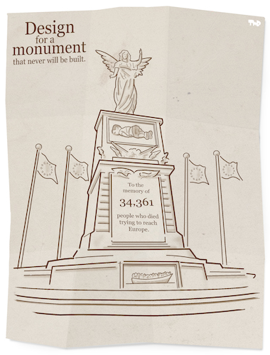 Cartoon: Migrant Monument (medium) by Tjeerd Royaards tagged migration,refugees,mediterranean,sea,droning,victims,europe,eu,migration,refugees,mediterranean,sea,droning,victims,europe,eu