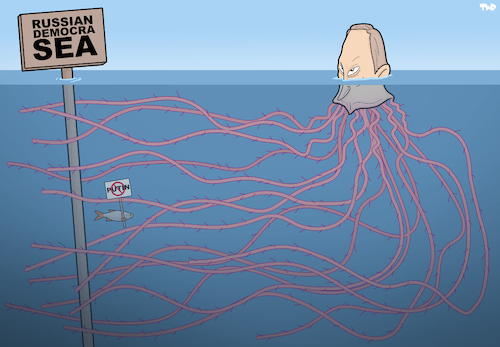 Cartoon: Russian democrasea (medium) by Tjeerd Royaards tagged russia,elections,putin,power,sea,ocean,fish,protest,abuse,oppression,russia,elections,putin,power,sea,ocean,fish,protest,abuse,oppression