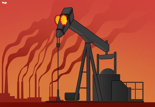 Cartoon: Shell Versus Climate Change (medium) by Tjeerd Royaards tagged shell,oil,petroleum,climate,change,global,warming,emissions,shell,oil,petroleum,climate,change,global,warming,emissions
