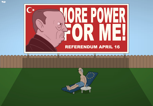 Cartoon: Tensions (medium) by Tjeerd Royaards tagged erdogan,referendum,democracy,power,eu,europe,conflict,erdogan,referendum,democracy,power,eu,europe,conflict