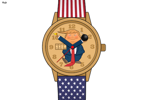 Cartoon: Tick Tock (medium) by Tjeerd Royaards tagged trump,watch,clock,time,2017,2018,new,year,trump,watch,clock,time,2017,2018,new,year