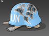 Cartoon: A history of UN intervention (small) by Tjeerd Royaards tagged un united nations war conflict intervention blue helmet new york security counsil assembly international community member states