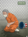 Cartoon: Corona Bay (small) by Tjeerd Royaards tagged usa,uncle,sam,america,gitmo,guantanamo,bay,coronavirus