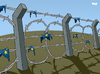 Cartoon: Fortress Europe (small) by Tjeerd Royaards tagged eu europe european union immigration euro illegal aliens border fence