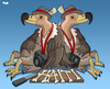 Cartoon: Vultures of the Press (small) by Tjeerd Royaards tagged haiti,earthquake,ethics,press,reporting,suffering,disaster,hamnitarian,human