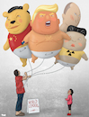 Cartoon: World Leaders (small) by Tjeerd Royaards tagged trump,putin,xi,jiping,kim,scary,balloon,child