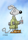 Cartoon: Cool Mouse (small) by Rovey tagged maus,mouse,katzen,cat,coolness,fashion,mode,bademantel,zuhause,kaffeetasse,coffee,hausschuhe,home,morgen,frühstück,tiere,pets,exzentrik,individualist,lifestyle,entspannung,relaxed,smile,zeitung