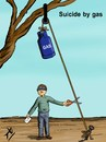Cartoon: Suicide by gas (small) by yaserabohamed tagged suicide