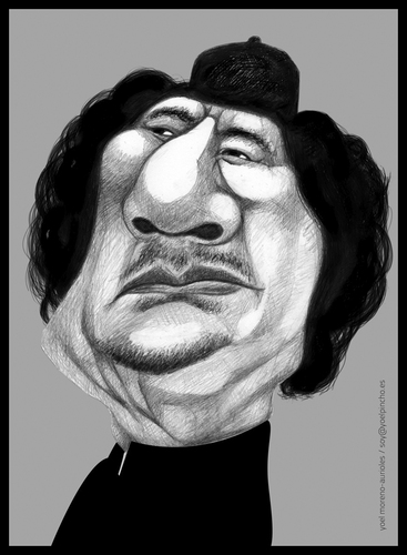 Cartoon: Al Gaddafi (medium) by pincho tagged muamar,gaddafi,libia,presidente,dictadura,rebeldes,caricatura,gobierno,arabes,africa