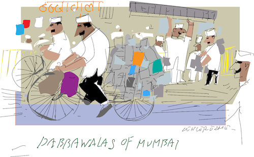 Cartoon: Dabbawalas in Mumbai (medium) by gungor tagged india,india