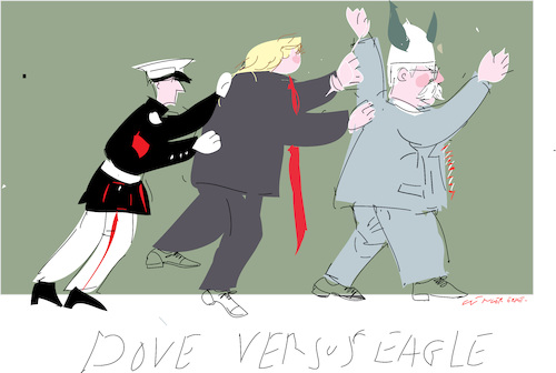 Cartoon: Dove versus Eagle (medium) by gungor tagged usa,usa
