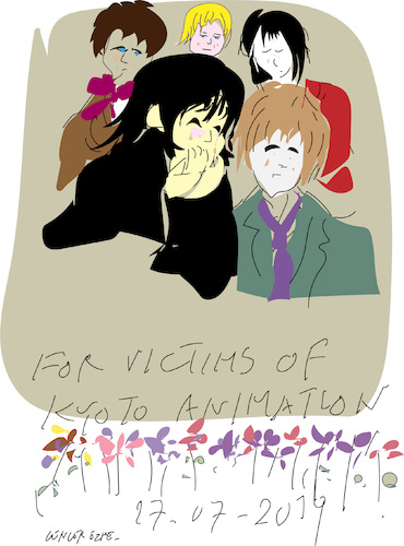 Cartoon: Kyoto Animation Fire (medium) by gungor tagged japan,japan