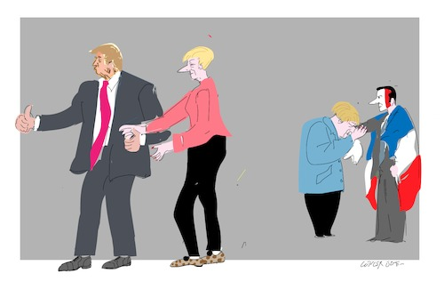 Cartoon: Merkel versus Trump (medium) by gungor tagged germany
