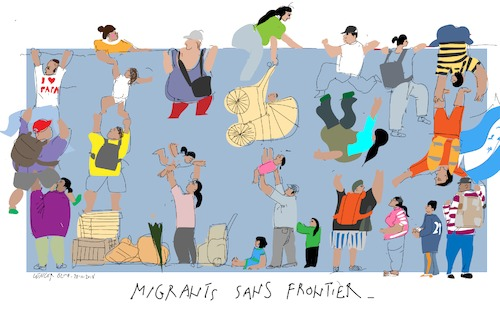 Cartoon: Migrants sans frontier B (medium) by gungor tagged usa,usa,migranten,vielfalt,mann,frau,kind,bunt,grenze,mexico