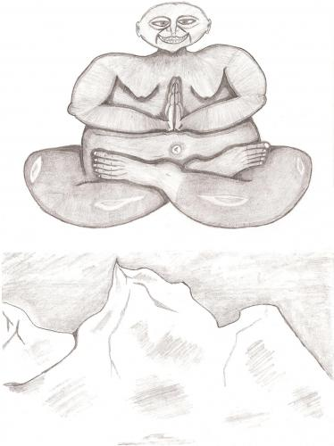 Cartoon: Buddha on the high mountain (medium) by Backrounder tagged buddhism