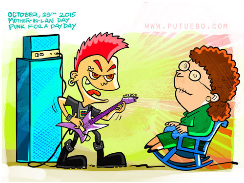 Cartoon: Mother-in-Law and Punk for a Day (medium) by putuebo tagged motherinlaw,punk,music,celebration