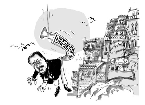 Cartoon: Ali Abdullah Saleh-Yemen (medium) by Dragan tagged ali,abdullah,saleh,yemen,democracia,politics,cartoon