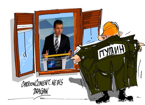 Cartoon: Anders Fogh Rasmussen-amenazas (medium) by Dragan tagged anders,fogh,rasmussen,otan,ucraina,politics,cartoon