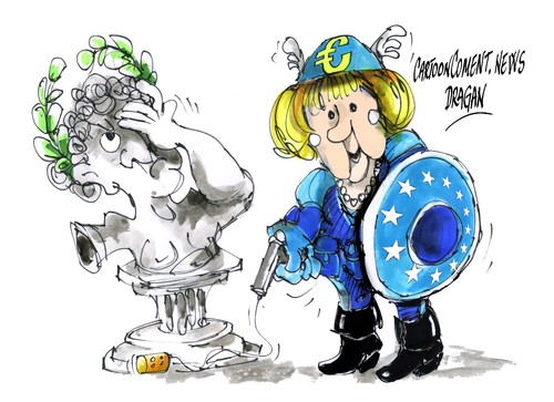 Cartoon: Angela Merkel-Kapitan Europa (medium) by Dragan tagged grecia,alemania,angela,merkel,union,europea,banco,central,europeo,fondo,monetario,internacional,politiks,cartoon