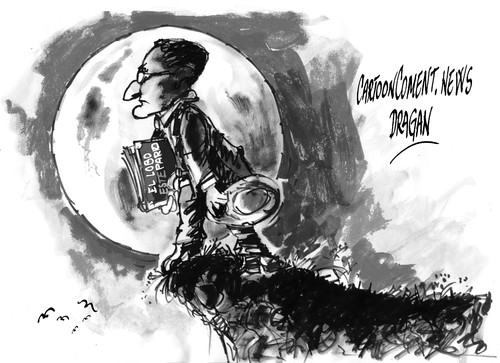 Cartoon: Hermann Hesse-lobo (medium) by Dragan tagged hermann,hesse,el,lobo,estepario,siddhartha,cartoon