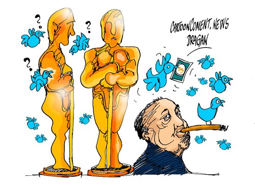 Cartoon: Oscars 2015-Alfred Hitchcock (medium) by Dragan tagged oscars,2015,alfred,hitchcock
