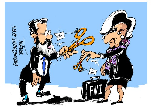 Cartoon: Rajoy-Lagarde-ajuste fiscal (medium) by Dragan tagged mariano,rajoy,christine,lagarde,fondo,monetario,internacional,fmi,espana,cricis,economica,politics,cartoon