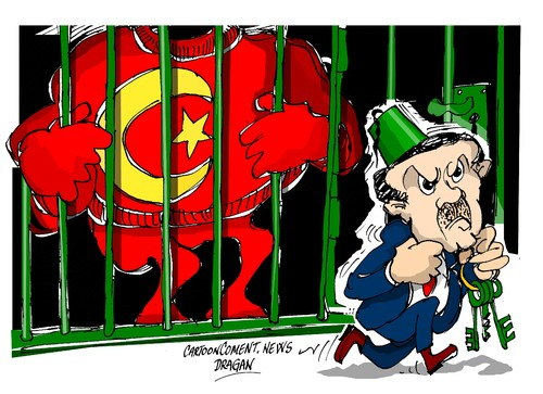 Cartoon: Recep Tayyip Erdogan-poder (medium) by Dragan tagged recep,tayyip,erdogan,turquia,denuncias,politics,cartoon