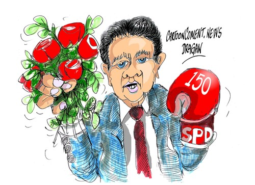Cartoon: Sigmar Gabriel-SPD-150 anos (medium) by Dragan tagged sigmar,gabriel,socialdemocracia,spd,150,anos,aniversario,cartoon