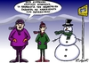 Cartoon: bus stop (small) by johnxag tagged bus stop weather snow snowman wait long johnxag