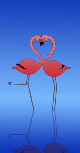 Cartoon: Flamingo Kiss... (medium) by berk-olgun tagged flamingo,kiss
