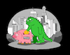 Cartoon: Bank Godzilla... (small) by berk-olgun tagged bank,godzilla