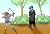 Cartoon: Rene Magritte vs Wilhelm Tell.. (small) by berk-olgun tagged rene,magritte