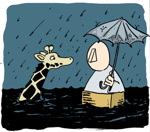 Cartoon: Noah (medium) by jen-sch tagged tsunami,giraffe,regen,sintflut,bibel,arche,ark,noach,noah