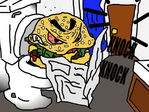 Cartoon: Sunday Morning Buns (medium) by m-crackaz tagged burger,toilet