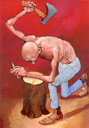 Cartoon: Desperado (medium) by Wiejacki tagged control,self,restrictions,tobacco,smoking,health