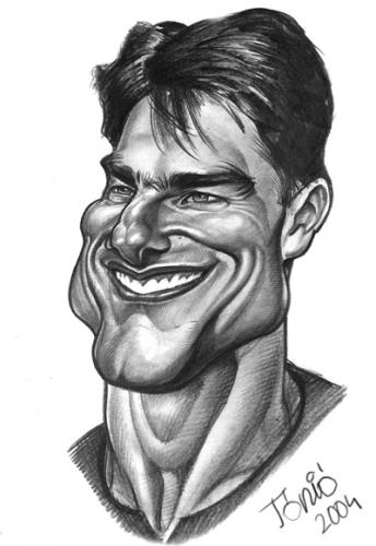 Cartoon: Tom Cruise (medium) by Tonio tagged caricature,portrait,actor,filmstar