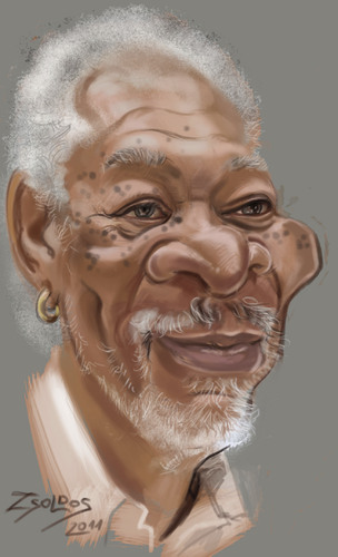 Cartoon: Morgan Freeman (medium) by zsoldos tagged actor,famous,people