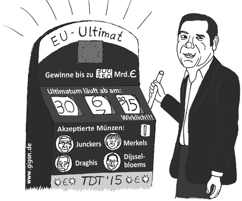 Cartoon: EU-Ultimat (medium) by TDT tagged euro,ezb,esm,dijsselbloem,draghi,juncker,merkel,bandit,einarmiger,spiel,ultimatum,grexit,tsipras,schuldenkrise,griechenland