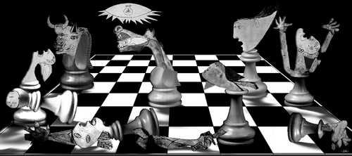 Cartoon: Guernica (medium) by zu tagged guernica,picasso,chess