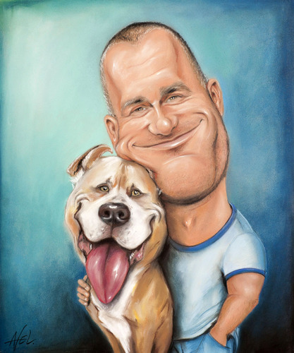Cartoon: Man with Pitbull (medium) by Avel tagged caricature