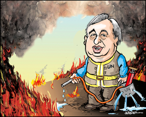 Cartoon: Antonio Guterres (medium) by jeander tagged un,secretary,general,antonio,guterres,united,nations,un,secretary,general,antonio,guterres,united,nations