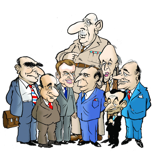 Cartoon: French presidents (medium) by jeander tagged presidents,france,mitterand,hollande,de,gaulle,macron,estaing,zarkosy,chirac,presidents,france