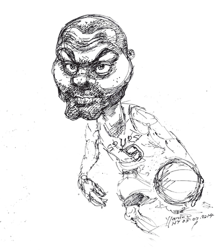 Cartoon: Tony Parker (medium) by yllifinearts tagged basketball,player,san,antonio,spurs,nba,playoffs,2014